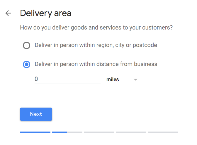 Google My Business delivery area